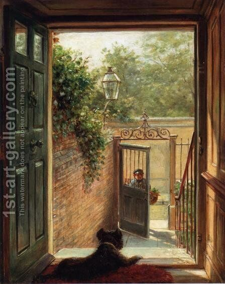A Philadelphia Doorway by Edward Lamson Henry - Reproduction Oil Painting