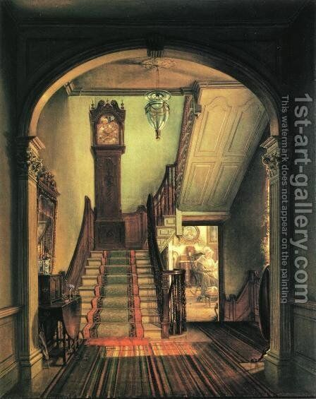 The Old Clock on the Stairs by Edward Lamson Henry - Reproduction Oil Painting