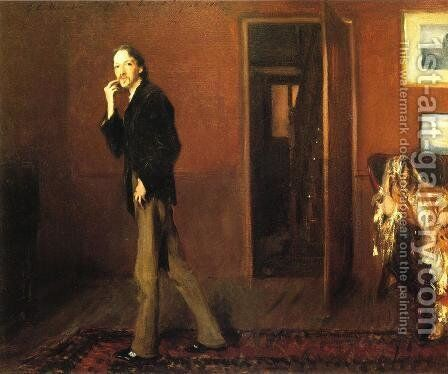 Robert Louis Stevenson and His Wife by Sargent - Reproduction Oil Painting