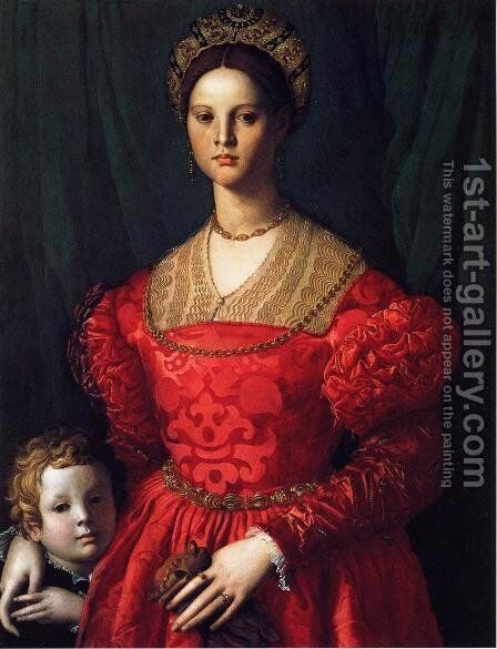 A Young Woman and her Little Boy by Angnolo Bronzino - Reproduction Oil Painting
