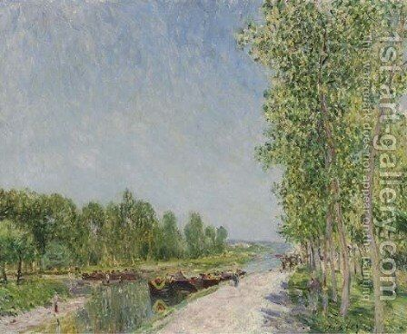 On the Banks of the Loing Canal by Alfred Sisley - Reproduction Oil Painting