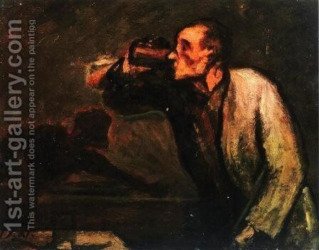 Billiard Players by Honoré Daumier - Reproduction Oil Painting