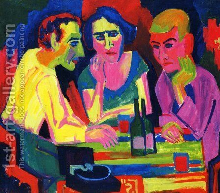 Three Figures at the Table by Hermann Scherer - Reproduction Oil Painting
