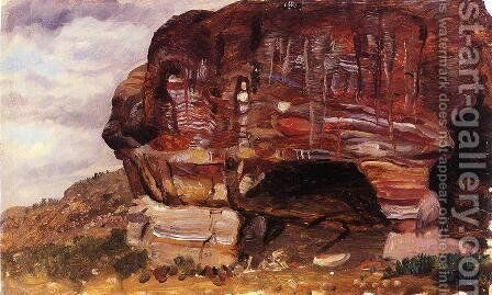 Study of Zoomorphic Rock, Petra by Frederic Edwin Church - Reproduction Oil Painting