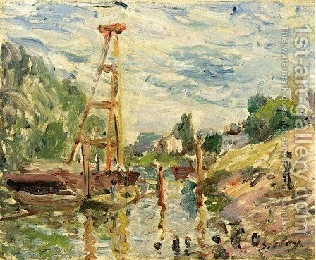 Bateau de Charge sur le Loing by Alfred Sisley - Reproduction Oil Painting
