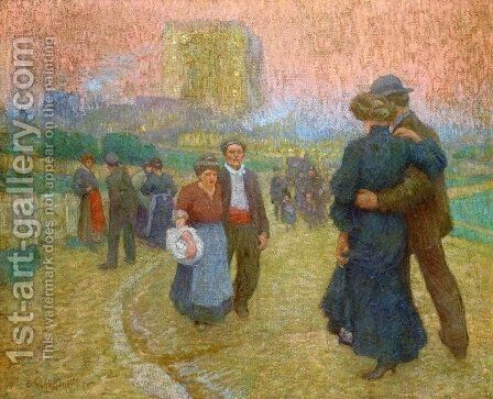 Evening Walk, Two Couples by Claude Emile Schuffenecker - Reproduction Oil Painting
