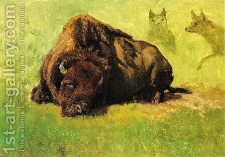 Bison with Coyotes in the Background by Albert Bierstadt - Reproduction Oil Painting