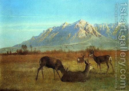 Deer in a Mountain Home by Albert Bierstadt - Reproduction Oil Painting