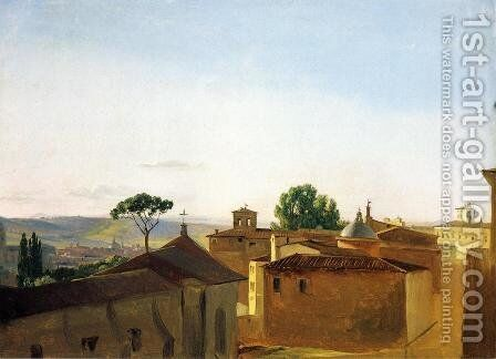 View on the Quirinal Hill, Rome by Simon-Joseph-Alexandre-Clement Denis - Reproduction Oil Painting