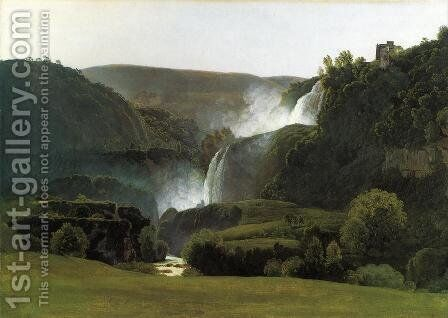 The Waterfalls of Tivoli by Johann Martin Von Rohden - Reproduction Oil Painting