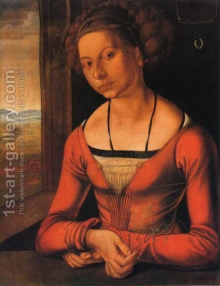 Portrait of a Woman with Her Hair Up by Albrecht Durer - Reproduction Oil Painting
