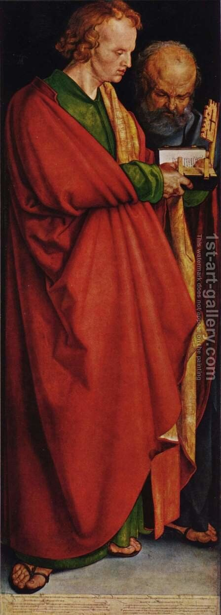 Four Holy Men (left panel): St. John and St. Peter by Albrecht Durer - Reproduction Oil Painting