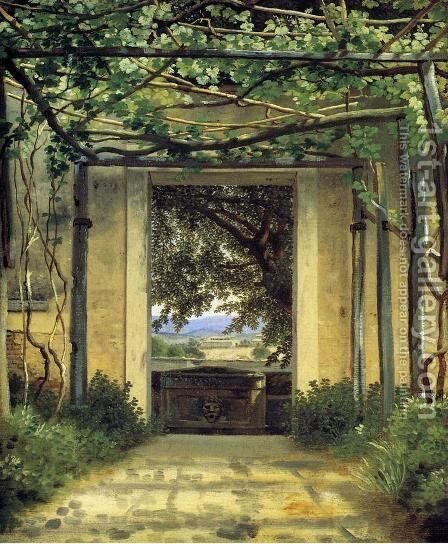A Pergola by Christoffer Wilhelm Eckersberg - Reproduction Oil Painting