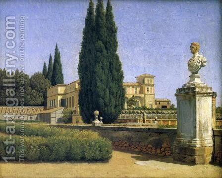 In the Gardens of the Villa Albani by Christoffer Wilhelm Eckersberg - Reproduction Oil Painting