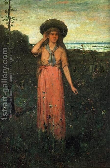 Picking Flowers by the Sea by Abbott Fuller Graves - Reproduction Oil Painting