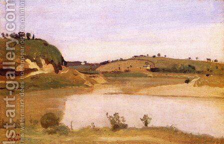 The Tiber near Rome by Jean-Baptiste-Camille Corot - Reproduction Oil Painting