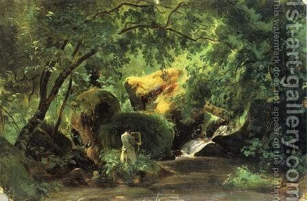 Forest Interior with an Artist, Civita Castellana by Andre Giroux - Reproduction Oil Painting