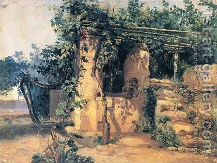 A Vine-Covered Terrace with a Well and a View of the Sea by Johann Baptist Kirner - Reproduction Oil Painting