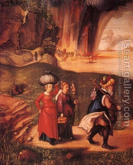 Lot Fleeing with his Daughters from Sodom I by Albrecht Durer - Reproduction Oil Painting