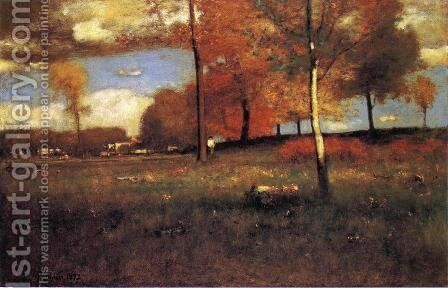 Near the Village, October by George Inness - Reproduction Oil Painting