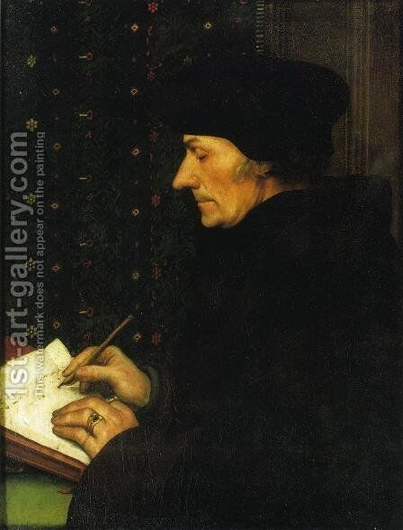 Portrait of Erasmus of Rotterdam Writing I by Hans, the Younger Holbein - Reproduction Oil Painting
