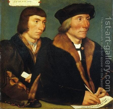 Portrait of Thomas Goldsalve and His Son John by Hans, the Younger Holbein - Reproduction Oil Painting