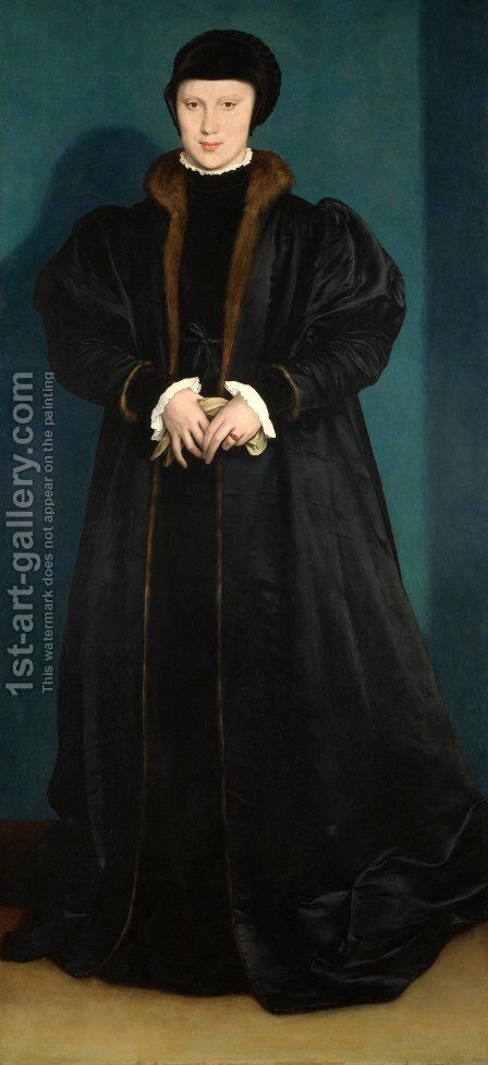 Portrait of Christina of Denmark by Hans, the Younger Holbein - Reproduction Oil Painting