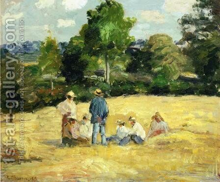 Resting Harvesters, Montfoucault by Camille Pissarro - Reproduction Oil Painting