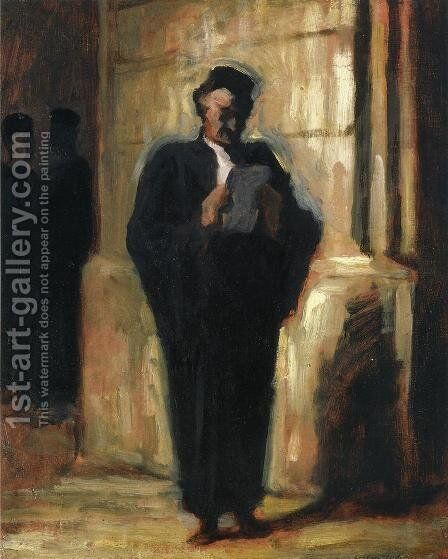 Attorney Reading by Honoré Daumier - Reproduction Oil Painting