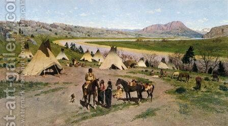In the Foothills of the Rockies by Henry Farny - Reproduction Oil Painting