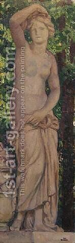 Statue dans le parc by Theo van Rysselberghe - Reproduction Oil Painting