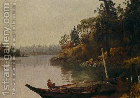 Salmon Fishing on the Northwest Coast by Albert Bierstadt - Reproduction Oil Painting