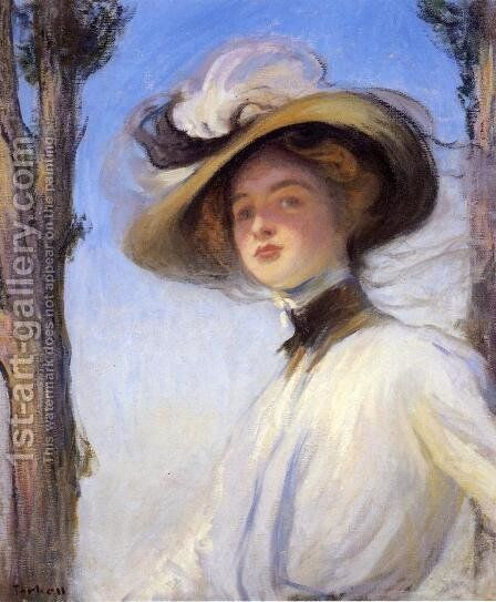 The Picture Hat by Edmund Charles Tarbell - Reproduction Oil Painting