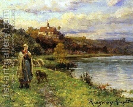 Woman by the Water by Daniel Ridgway Knight - Reproduction Oil Painting