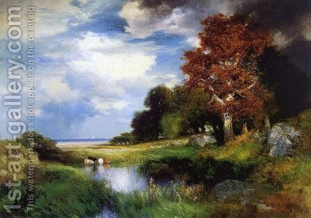 View of East Hampton by Thomas Moran - Reproduction Oil Painting