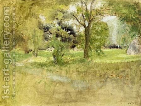 Trees in a Field by Edouard  (Jean-Edouard) Vuillard - Reproduction Oil Painting