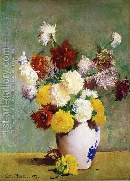 Still Life of Chrysanthemums in a Canton Vase by Emil Carlsen - Reproduction Oil Painting