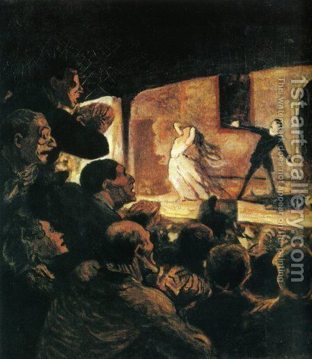 At the Theater by Honoré Daumier - Reproduction Oil Painting