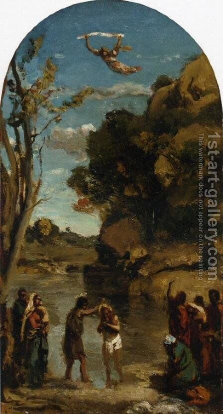 The Baptism of Christ (study) by Jean-Baptiste-Camille Corot - Reproduction Oil Painting