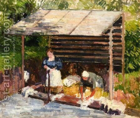 Laundresses at Eragny I by Camille Pissarro - Reproduction Oil Painting