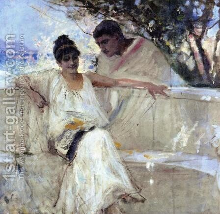 Horace and Lydia (study) by Albert Edelfelt - Reproduction Oil Painting