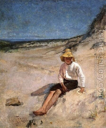 Boy on the Beach by Edmund Charles Tarbell - Reproduction Oil Painting