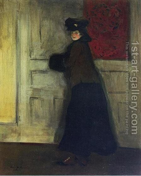 Lady with Muff by Alfred Henry Maurer - Reproduction Oil Painting