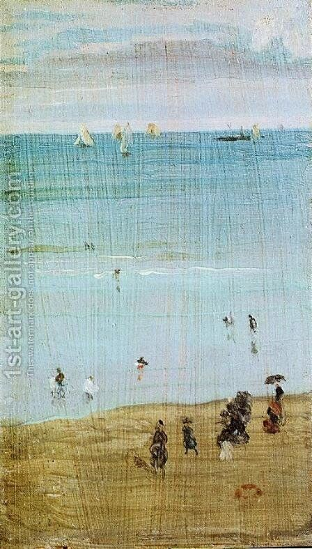 Harmony in Blue and Pearl: The Sands, Dieppe by James Abbott McNeill Whistler - Reproduction Oil Painting