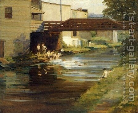 Boys Bathing in the Canal by Mary Smith Perkins Perkins - Reproduction Oil Painting
