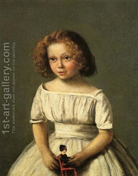 Portrait of Madame Langeron, Four Years Old by Jean-Baptiste-Camille Corot - Reproduction Oil Painting
