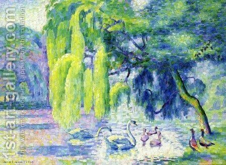 Family of Swans by Henri Edmond Cross - Reproduction Oil Painting