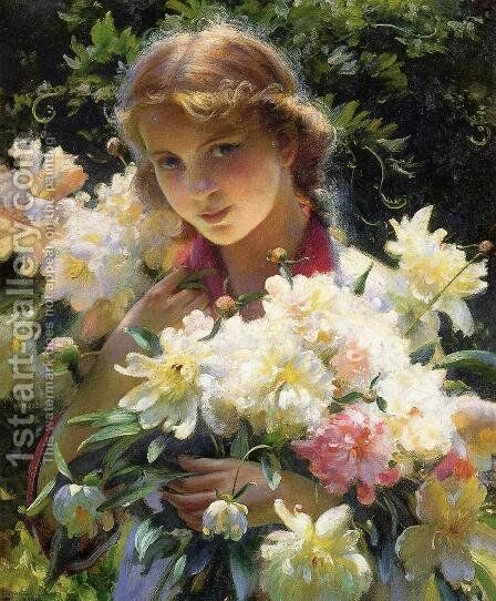 Peonies by Charles Curran - Reproduction Oil Painting