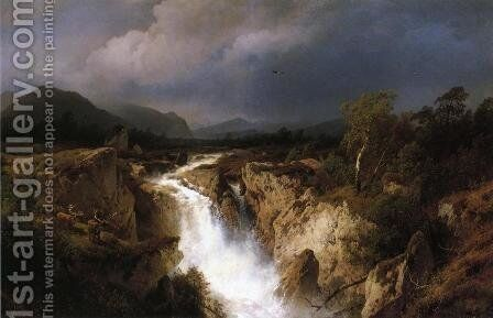 Landscape with Waterfall by Herman Herzog - Reproduction Oil Painting