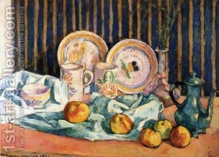 Still Life with Teapot, Apples and Dishes by Emile Bernard - Reproduction Oil Painting